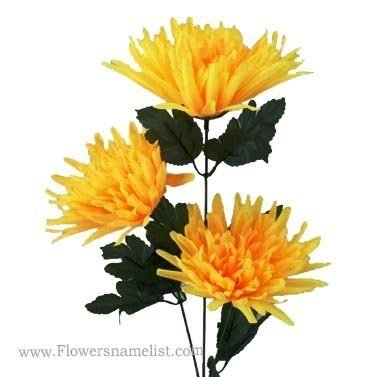 Chrysanthemums Carnival Yellow Artificial Spider
